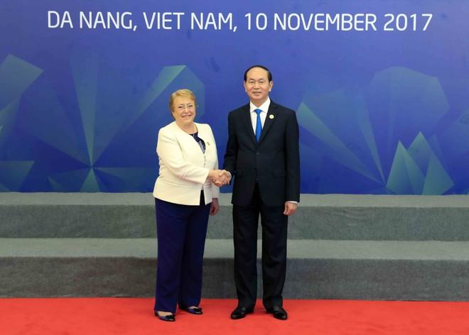 Chủ tịch nước Trần Đại Quang đón Tổng thống Chile Michelle Bachelet Jeria