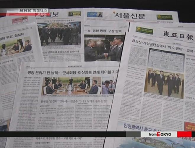 Nhiều bài báo tại Hàn Quốc viết về cuộc hội đàm liên Triều