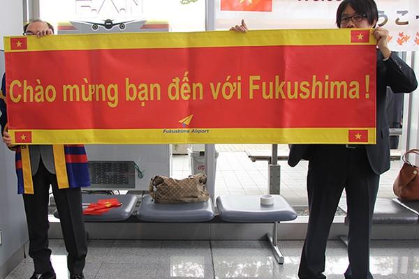 Biểu ngữ chào đón du khách bằng tiếng Việt tại sân bay Fukushima