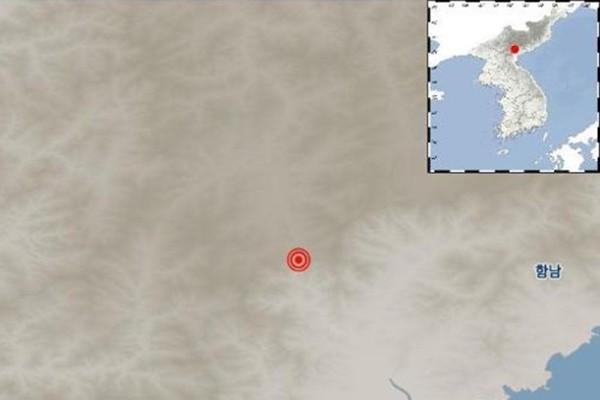 Ảnh đăng trên trang web của KMA mô tả địa điểm xảy ra động đất
