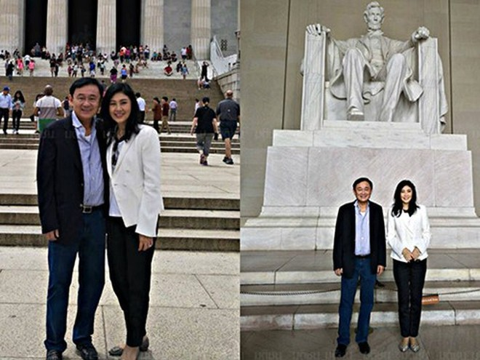 Ảnh chụp bà Yingluck và ông Thaksin tại Đài tưởng niệm Lincoln
