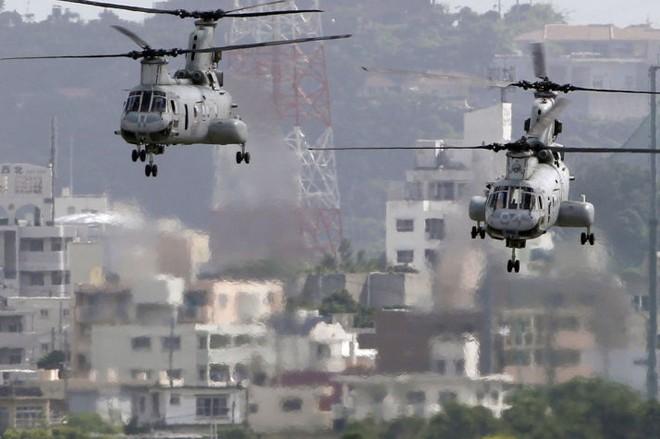 Máy bay trực thăng Mỹ CH-46 tại căn cứ Futenma