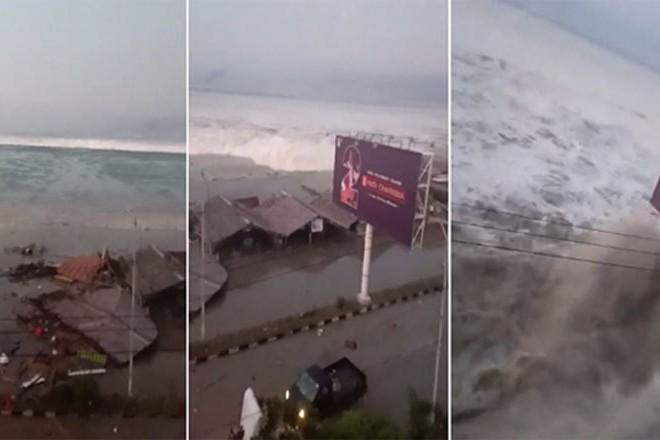 Sóng thần kinh hoàng càn quét một thị trấn ở Indonesia
