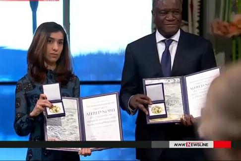 Ông Denis Mukwege và cô Nadia Murad, những chủ nhân của giải Nobel Hòa bình năm nay