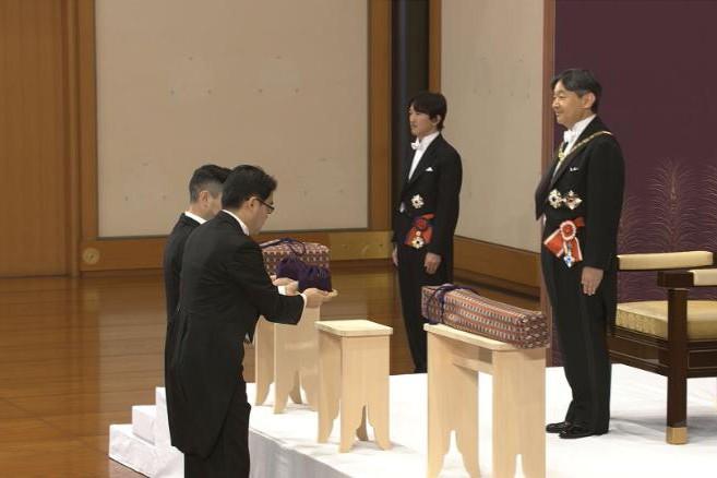 Nhật hoàng Naruhito trong lễ đăng quang diễn ra sáng nay 1-5 tại Cung điện Hoàng gia ở Tokyo