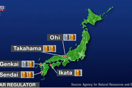 Bản đồ mô tả một số nhà máy điện hạt nhân ở Nhật Bản