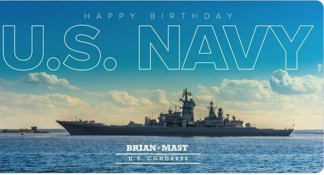 Hình ảnh tàu chiến Nga được ông Mast sử dụng trong dòng tweet chúc mừng sinh nhật Hải quân Mỹ