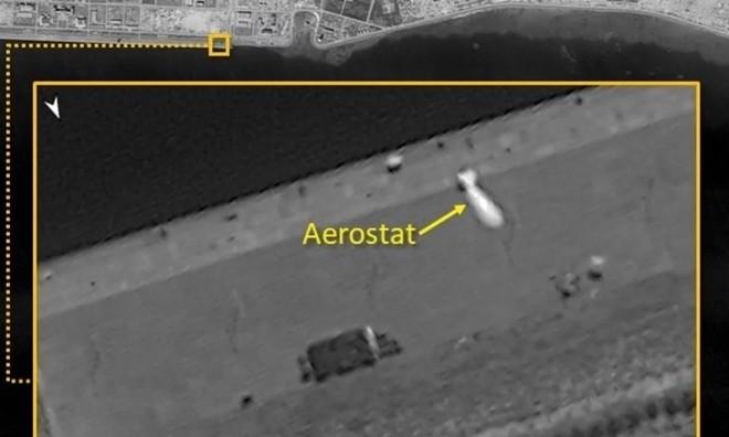 Vật thể có hình dạng khí cầu (aerostat) được phát hiện ở đá Vành Khăn thuộc quần đảo Trường Sa của Việt Nam hôm 18-11. Ảnh: ISI