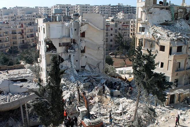 Quang cảnh đổ nát tại tỉnh Idlib của Syria