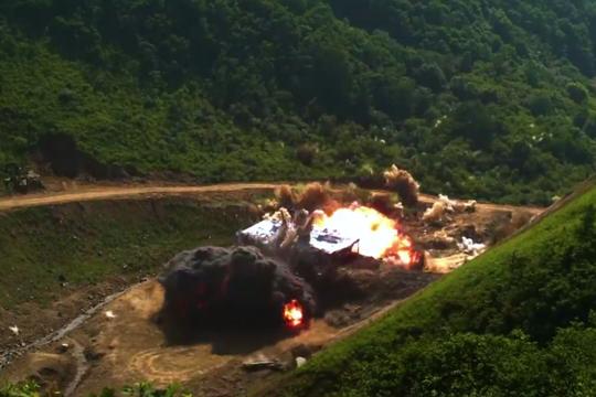 Hình ảnh mô phỏng mục tiêu bị phá hủy trong cuộc tấn công giả định