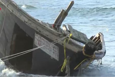 Phần mũi tàu được Nhật Bản tìm thấy, có 7 thi thể