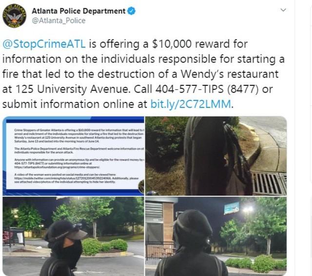 Cảnh sát Atlanta đăng thông tin treo thưởng lên Twitter (Ảnh chụp màn hình)