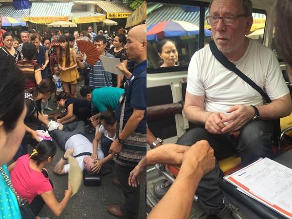 Vị khách nước ngoài bị ngất xỉu được người dân Hà Nội kịp thời cứu chữa Ảnh: Trịnh Gia Bách