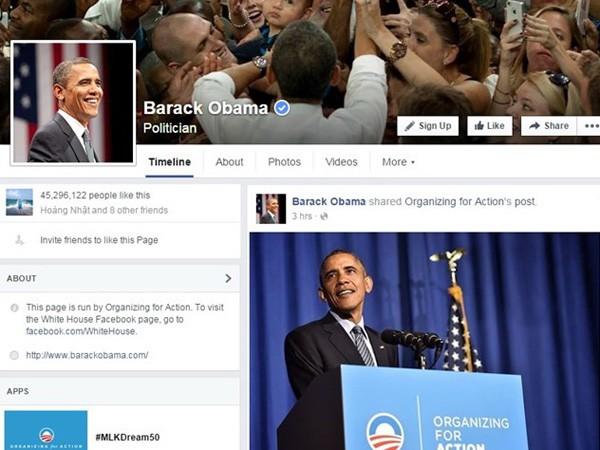 Tống thống Mỹ lập trang Facebook cá nhân ảnh 1