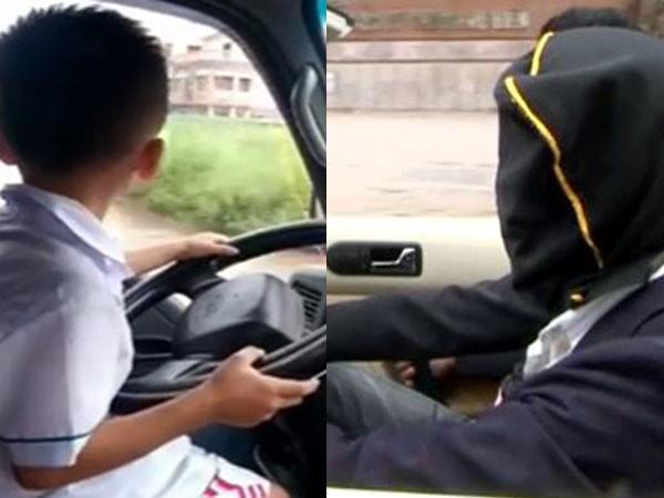 Cho trẻ em lái xe hoặc trùm đầu khi điều khiển xe ô tô trên đường là việc làm vô cùng mạo hiểm