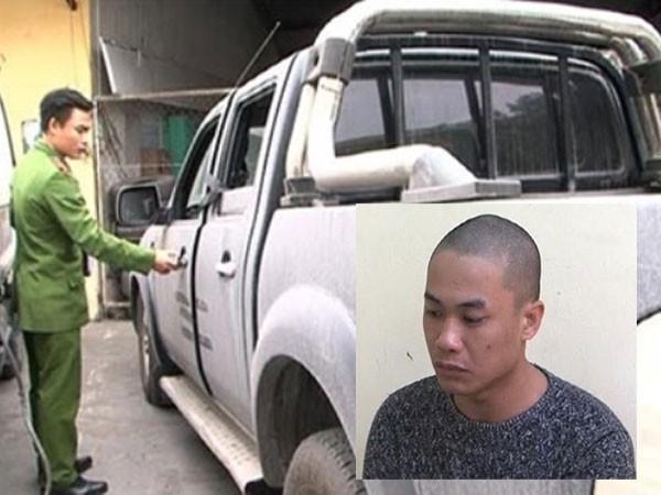 Vũ Văn Tuấn và chiếc xe tang vật bị CATP Cẩm Phả thu giữ