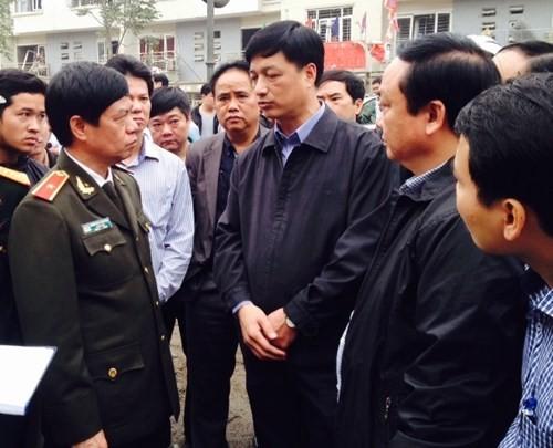 Thiếu tướng Đoàn Duy Khương, Giám đốc CATP Hà Nội tại hiện trường vụ nổ, chỉ đạo công tác điều tra, làm rõ và khắc phục hậu quả