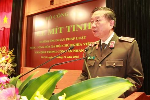 Bộ trưởng Tô Lâm phát biểu tại buổi Lễ.