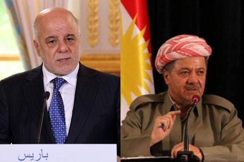 Thủ tướng Iraq Haider al-Abadi (bên trái) sẽ không đối đầu quân sự với cộng đồng người Kurd do ông Massud Barzani lãnh đạo