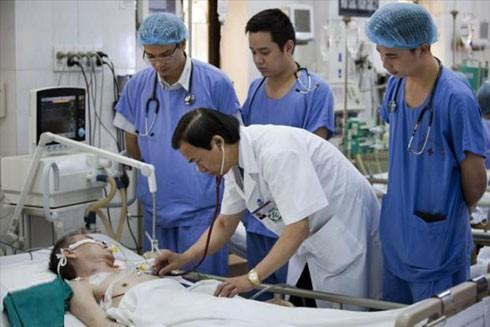 Các bác sĩ thăm khám cho bệnh nhân tim mạch tại Viện Tim mạch Việt Nam
