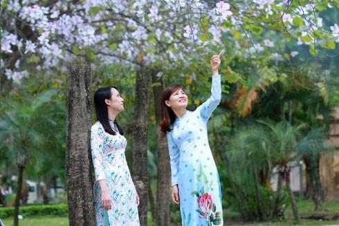 Hà Nội đẹp dịu dàng với những tà áo dài vào mỗi mùa hoa. Ảnh: Lam Thanh