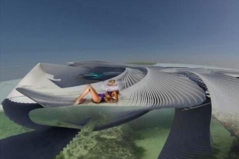 Ý tưởng xây khách sạn nổi trên biển giúp du khách được chiêm ngưỡng những vẻ đẹp kỳ diệu của biển