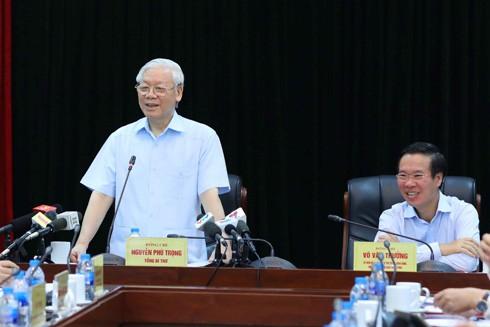 Tổng Bí thư Nguyễn Phú Trọng phát biểu chỉ đạo tại buổi làm việc với Ban Tuyên giáo Trung ương