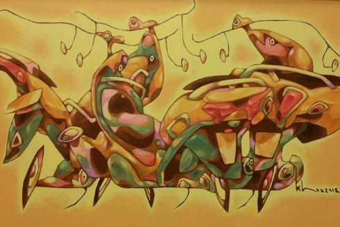 Một tác phẩm vẽ xe máy của họa sỹ Nguyễn Hữu Khoa