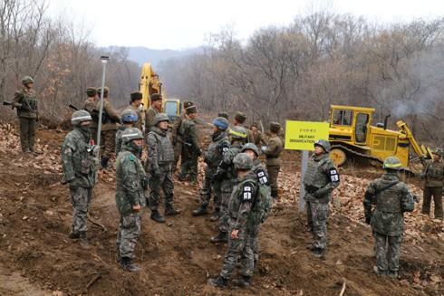Các binh sĩ Hàn Quốc - Triều Tiên cùng giải tỏa chướng ngại vật nhằm xây dựng tuyến đường bộ nối hai miền