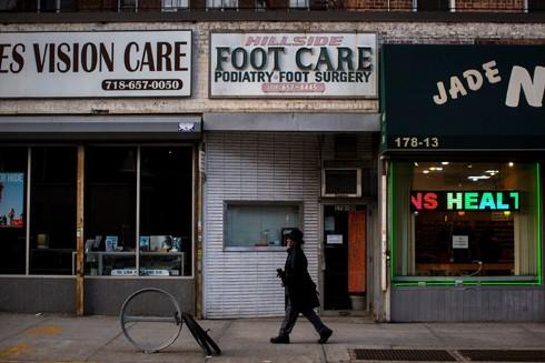 Văn phòng của bác sĩ Larry Braunstein ở Jamaica, Queens, New York, người được cho là đã từng chứng thực bệnh xương gót chân cho ông Donald Trump để được miễn trừ quân dịch