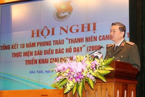 """Đại tướng Tô Lâm phát biểu tại Hội nghị tổng kết 10 năm phong trào """"Thanh niên Công an nhân dân học tập, thực hiện Sáu điều Bác Hồ dạy"""""""