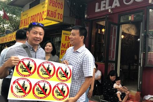 Logo kêu gọi đã uống rượu bia thì không lái xe của nhóm 91-94 Hà Nội
