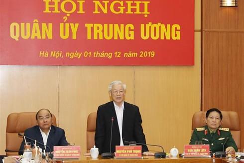 Tổng Bí thư, Chủ tịch nước Nguyễn Phú Trọng, Bí thư Quân ủy Trung ương phát biểu kết luận Hội nghị