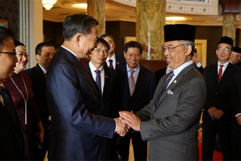 Bộ trưởng Bộ Công an Tô Lâm yết kiến Quốc vương Malaysia Abdullah Sultan Ahmad Shah tại Cung điện Hoàng gia Malaysia