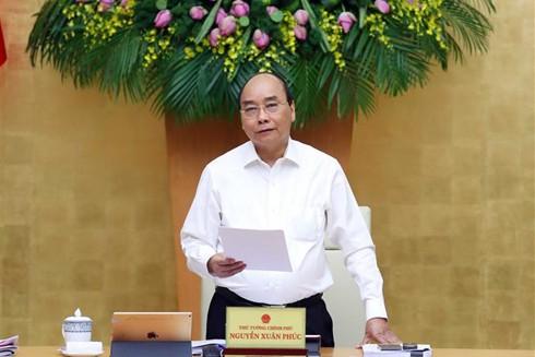 Thủ tướng Nguyễn Xuân Phúc phát biểu tại phiên họp Chính phủ thường kỳ tháng 5-2020