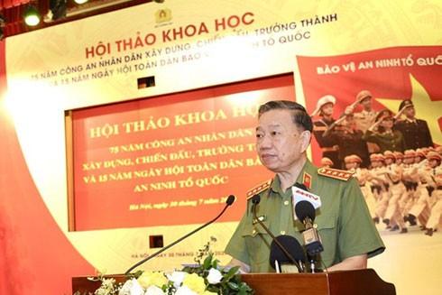 Đại tướng Tô Lâm, Ủy viên Bộ Chính trị, Bộ trưởng Bộ Công an phát biểu tại hội thảo