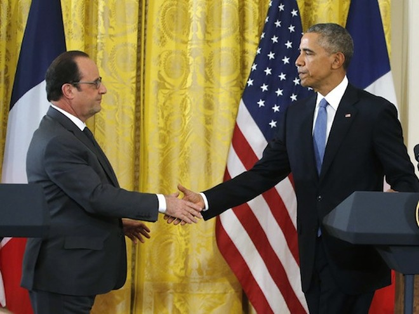Tổng thống Pháp Francois Hollande vừa gặp mặt Tổng thống Mỹ Barack Obama