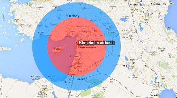 Vùng màu đỏ là khu vực S-400 có thể đánh chặn tên lửa, vùng màu xanh là tầm quan sát của radar