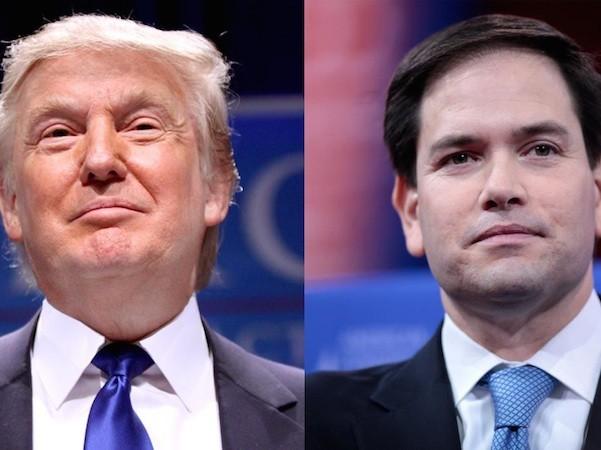 Tỉ phú Doland Trump và thượng nghị sĩ Marco Rubio (phải)