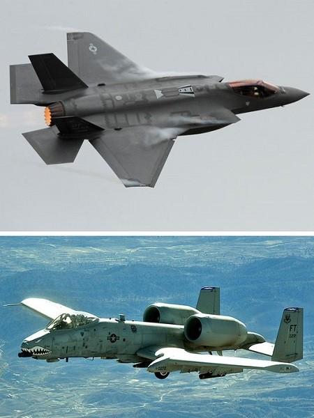 Máy bay F-35 (trên) và A-10 Warthog