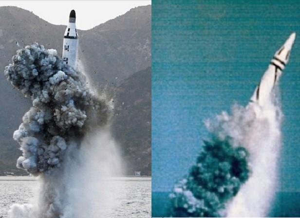 Tên lửa KN-11 của Triều Tiên (trái) và tên lửa JL-1 Trung Quốc