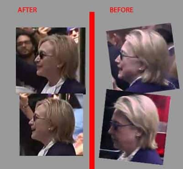 Hình ảnh bà Clinton trước và sau khi rời nhà con gái ở New York được đem ra so sánh