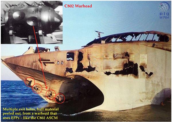 Vết thủng trên tàu Swift chứng minh rằng, phiến quân Houthi có thể sử dụng tên lửa C-802 của Trung Quốc