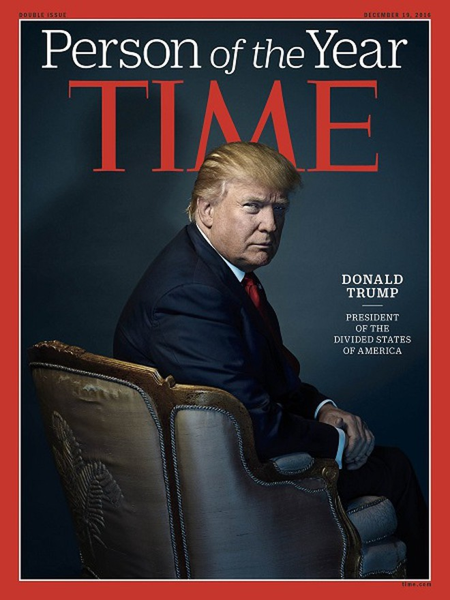 Các biên tập viên TIME chọn ông Trump là người có ảnh hưởng lớn nhất thế giới năm 2016