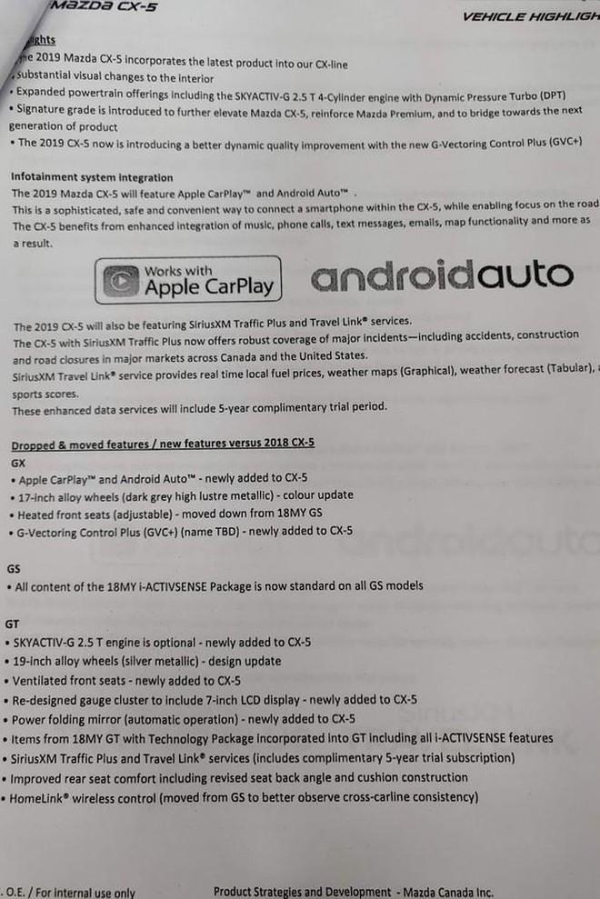 Hình thông số thay đổi của Mazda CX-5 2019