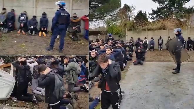 Nhiều sinh viên Pháp đã bị cảnh sát bắt quỳ gối hoặc úp mặt vào tường