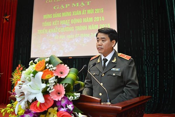 Giám đốc CATP Hà Nội bày tỏ lòng cảm ơn cũng như trân trọng những đóng góp giá trị của các sỹ quan công an hưu trí
