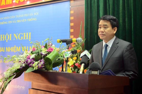 Chủ tịch UBND TP Hà Nội Nguyễn Đức Chung phát biểu chỉ đạo tại hội nghị