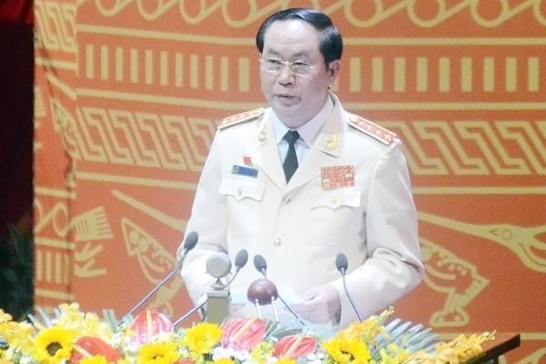 Đại tướng Trần Đại Quang, Bộ trưởng Bộ Công an phát biểu tham luận sáng 22-1
