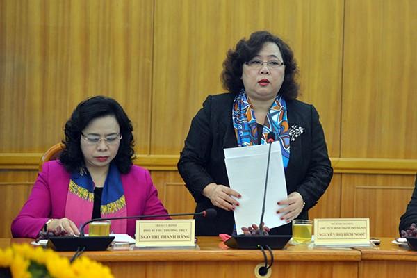 Chủ tịch HĐND TP Hà Nội Nguyễn Thị Bích Ngọc báo cáo công tác chuẩn bị bầu cử của TP Hà Nội